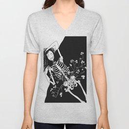 girl skeleton flower Unisex V-Neck