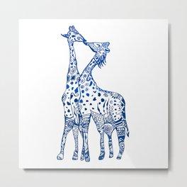 Giraffes kiss art Metal Print