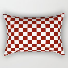 Vintage New England Shaker Barn Red and White Milk Paint Jumbo Square Checker Pattern Rectangular Pillow
