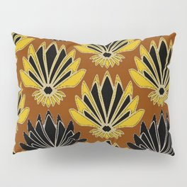 ART DECO YELLOW BLACK COFFEE BROWN AGAVE ABSTRACT Pillow Sham