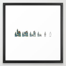 Sub(tract) housing in blue Framed Art Print