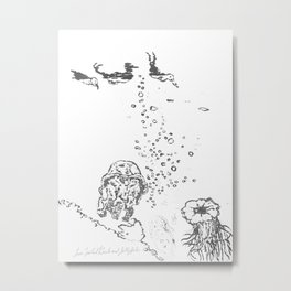 Two Tailed Duck and Jellyfish White Metal Print