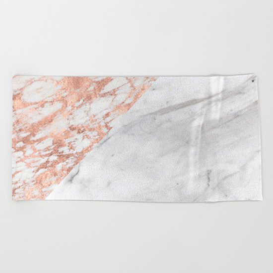 Massarosa Marchionne Bianco rose gold marble Beach Towel