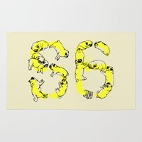 pugs Area & Throw Rugs featuring Pugs Prank by Huebucket