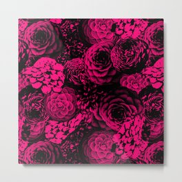 Moody Florals in Magenta Metal Print
