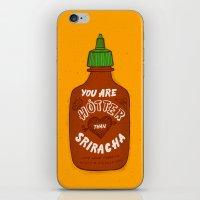sriracha iPhone & iPod Skins featuring Sriracha Valentine by Leah Doguet