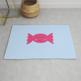 Pink candy bonbon with smile Rug