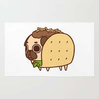 taco Area & Throw Rugs featuring Puglie Taco by Puglie Pug