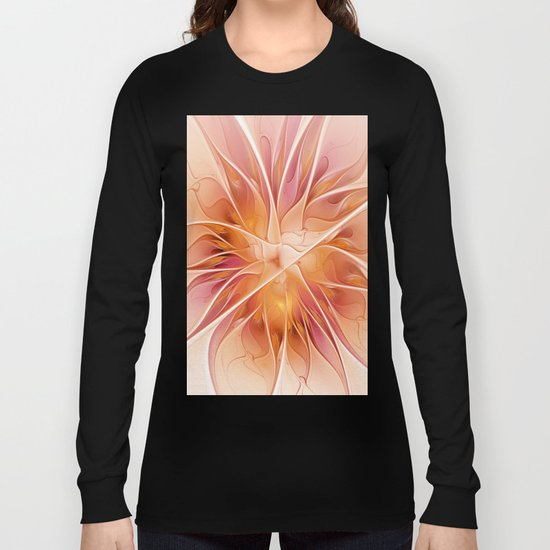 Floral Impression, Abstract Fractal Art Long Sleeve T-shirt