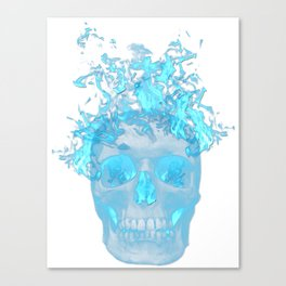 Blue Flame Skull Canvas Print