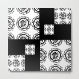 Black and White Rounded Mandala Patch Textile Metal Print