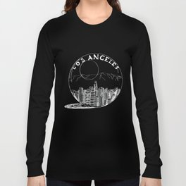 Los Angeles in a glass bowl on blue background Long Sleeve T-shirt