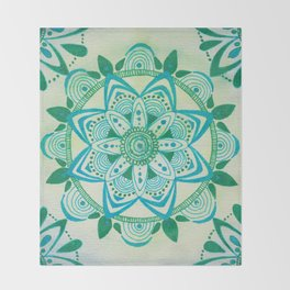 Simpe Blue/Green Mandala Throw Blanket