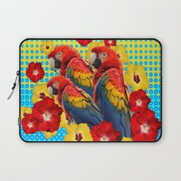 YELLOW-BLUE  FLORAL MACAWS & RED YELLOW HIBISCUS Laptop Sleeve