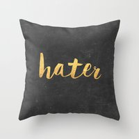 2pac Throw Pillows featuring Hater by Text Guy