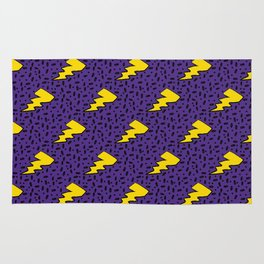 Yellow and Purple 90's Retro Lightning Bolts Pattern Rug