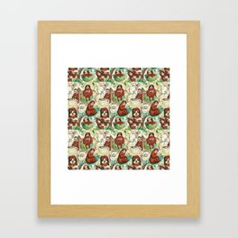 sloth in coffee pattern Framed Art Print