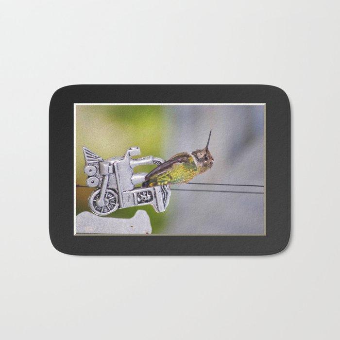 Hummingbird on Train Windchime. © J. Montague. Bath Mat