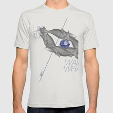 Wailin' Whale Vintage Design MEDIUM Silver Mens Fitted Tee