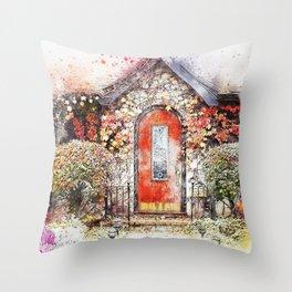 Flowers Door Cottage Throw Pillow