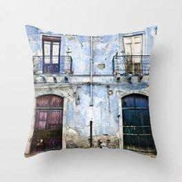 BLUE FACADE of SICILY Throw Pillow