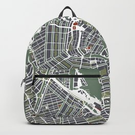 Amsterdam city map engraving Backpack