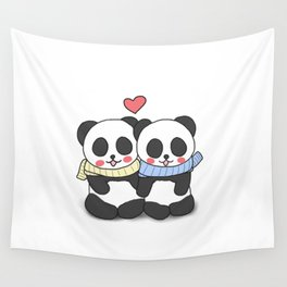 Panda Love Couple in Winter Wall Tapestry