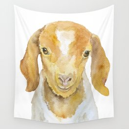 Nubian Goat Head Watercolor Wall Tapestry