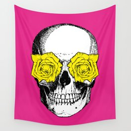 Skull and Roses   Pink and Yellow Wall Tapestry