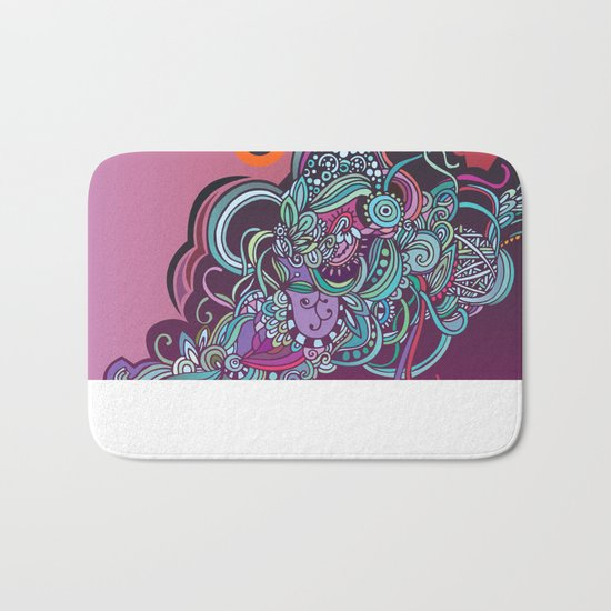 Detailed diagonal tangle, pink and purple Bath Mat