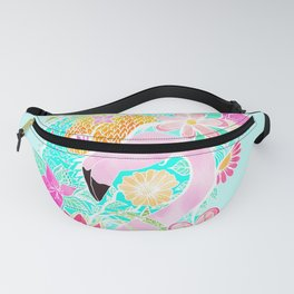 Tropical summer watercolor flamingo floral pineapple Fanny Pack