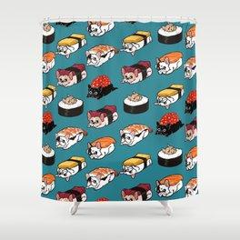 Sushi Frenchie Shower Curtain