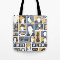 twin peaks Tote Bags featuring Twin Peaks by Bill Pyle
