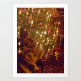 Glow of a candlelit Christmas tree Art Print