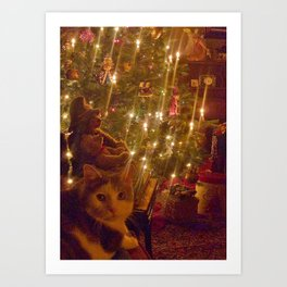 Glow of a candlelit Christmas tree Art Print