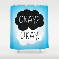 fault in our stars Shower Curtains featuring OKAY? OKAY. The Fault in Our Stars by Alan Lima