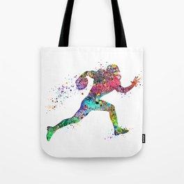 Football Player Sports Art Print Watercolor Print American Football Tote Bag