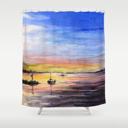 Beautiful Sunset Watercolor Painting Shower Curtain