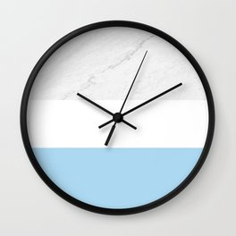 Marble Sky Blue White Color Block Modern Geometry Wall Clock