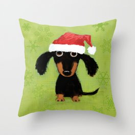 Dachshund Santa Clause | Wiener Dog Christmas Throw Pillow