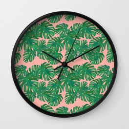 Monstera Stripe on Pink Wall Clock