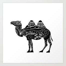 camel silhouette with tribal ornaments Art Print