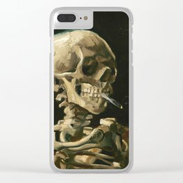 Skull of a Skeleton with Burning Cigarette by Vincent van Gogh Clear iPhone Case