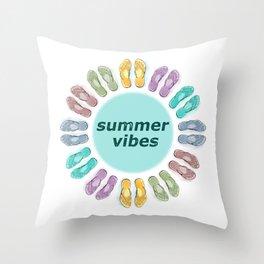 Summer vibes in flip flops Throw Pillow