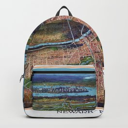 NEWHARK NEW JERSEY city old map Father Day art print poster Backpack