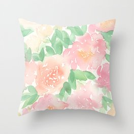 Pink Peonies and Roses Throw Pillow
