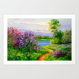 Lilac bloom on the river Art Print
