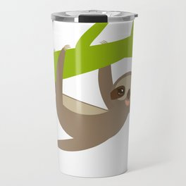 funny and cute smiling Three-toed sloth on green branch Travel Mug
