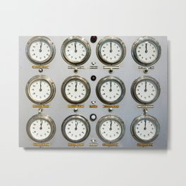 Retro clock faces on control panel Metal Print