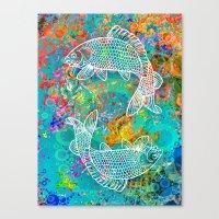 yin yang Canvas Prints featuring YIN & YANG by AlyZen Moonshadow